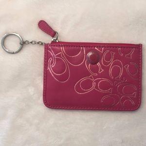 NWOT Coach Pink ID Holder Wallet Keychain